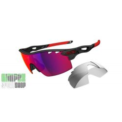 OAKLEY Radarlock XL Matte Black Ink Red Polarized Vented & Black Iridium Vented