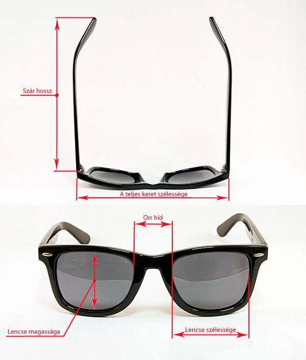 napszemüveg méretek